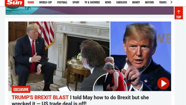 Donald Trump krytykuje Theresę May ws. brexitu